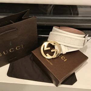 Gucci Other - ✨ Authentic Men Gucci Belt White Monogram Gold GG