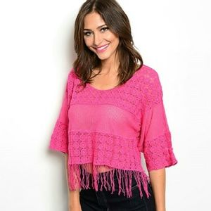 Tops - 💋JUST ARRIVED💋Magenta Pink crochet top