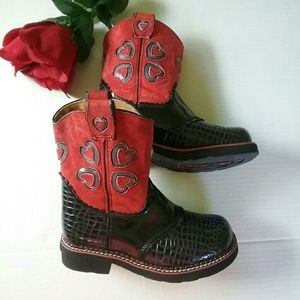 Ariat Other - GIRLS RED ARIAT SUEDE Heart Boots Size 1