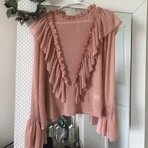 Endless Rose Tops - Peach/blush endless rose ruffle Blouse