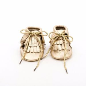 MAC&LOU Other - MAC&LOU LEATHER BABY MOCCASINS GOLD MINE