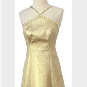 shoshanna metallic gold dress