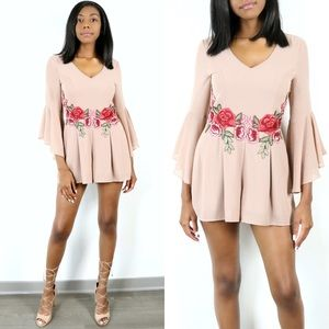Jaded Affairs Pants - 🆕 Bell-Sleeve Rose Embroidered Romper