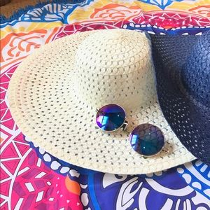 WILA Accessories - LAST CHANCE Navy or White Straw Floppy Hat