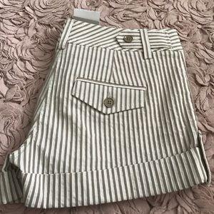 Express Pants - Express tan and white stripe shorts