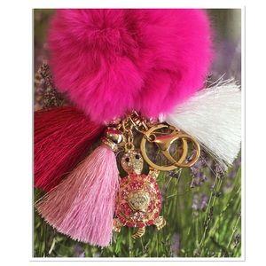 Pink Pom Pom Purse Charm