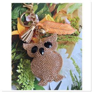 Jeweled Puffed Owl Purse Charm