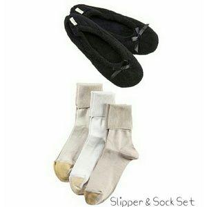 Gold Toe Accessories - 🆕Gold Toe 3-Pack Turn Cuff Socks & Slipper Set