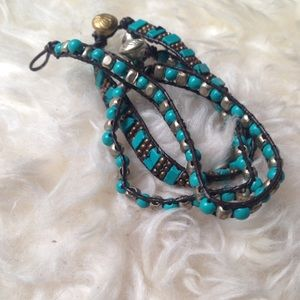 Jewelry - Turquoise and silver beaded bracelet trio