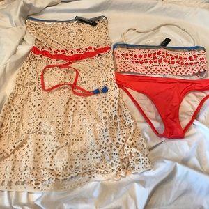 Beautiful Laser Cut Bikini and Matching Cover-up