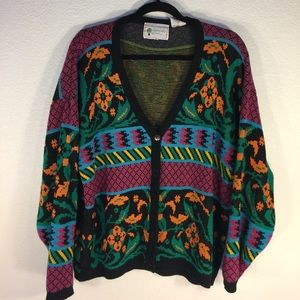 Vintage Sweaters - 90s 80s 70s Retro Colorful Groovy Cardigan Sweater