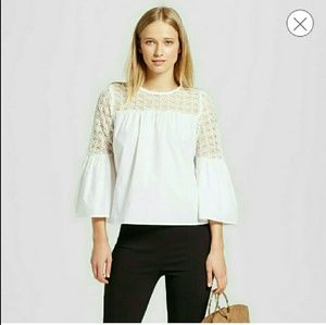 WHO WHAT WEAR Tops - NWT - Bell Sleeve Shirt with lace shoulder.