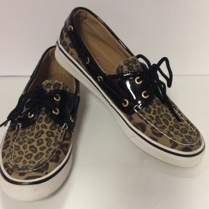 Sperry top sider shoes leopard black patent 7