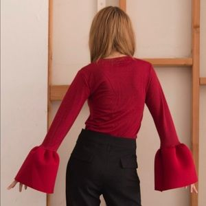 Style Mafia Tops - Red cotton spandex top long sleeves bell ends