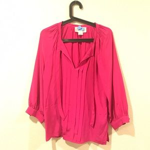Julie Brown hot pink neck tie blouse