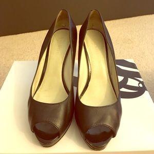 Black leather open toe platform heels