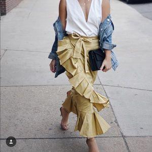 Cotton khaki beige long skirt pleated at the edge
