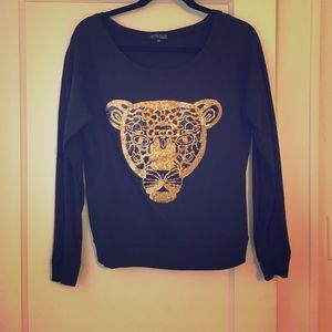 Fifth Sun Tops - Fifth Sun black sequin panther sweatshirt
