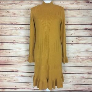 AGB Dresses & Skirts - Mustard Yellow Sweater Dress Long Sleeve Ruffle