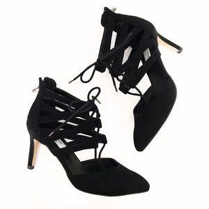 Chelsea & Zoe Shoes - Chelsea & Zoe Black Lace Up Faux Suede Cage Heels