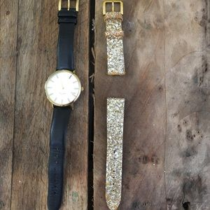 KATE SPADE Black watch⌚️with interchangeable band