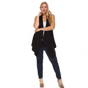 Sweaters - Black Sleeveless Cardigan Duster Vest
