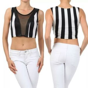 Tops - Crop Striped Mesh Faux Leather Trim Club Top NEW