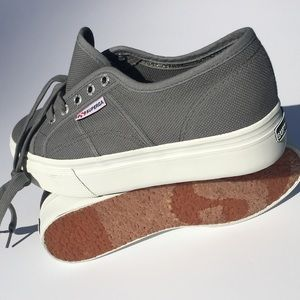 Superga Shoes - New Superga platform shoes in grey size 7