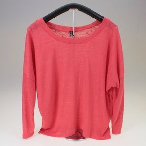 Tops - Coral Pink Oversized High Low Top