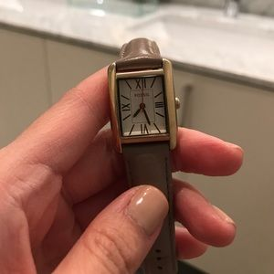Fossil gray leather band watch