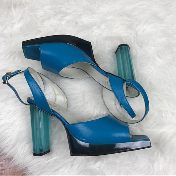 john fluevog Shoes - John Fluevog Blue Lucite Heel Vintage Ankle Straps