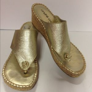 Andre Assous Shoes - Andre Assous made in Spain gold wedge shoes 39