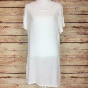 Doublju Tops - White Short Sleeve Tunic Sheer Scoop Neck 3X
