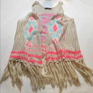 Tops - bohemian style crochet vest with neon tribal print