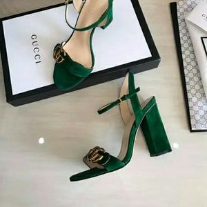 Gucci Shoes - Gucci Marmont Suede Block Sandals in Green