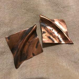 Anthropologie Jewelry - Vintage square bronze metal earrings