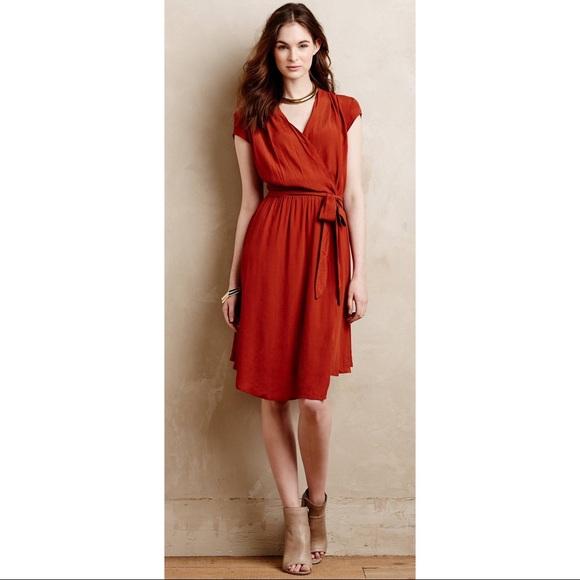402ceaf4aa28 Anthropologie Dresses & Skirts - Maeve Noronha Wrap Dress in Orange Rust