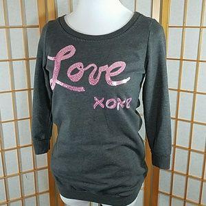 Belle Du Jour Tops - Belle Du Jour Love 3/4 sleeve sweatshirt S