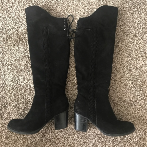 44 macy s shoes knee high faux suede black boot