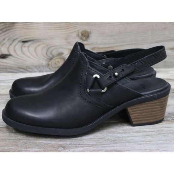783869790cc90d Teva Authentic Foxy Clog Leather Black 8.5