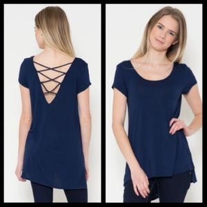 Tops - CRISS CROSS STRAPPY plunging OPEN BACK