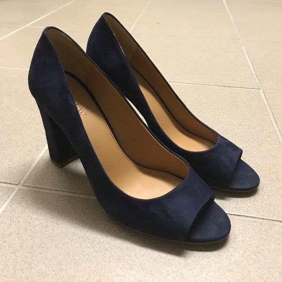e9c7660c4e44 J. Crew Shoes - J. Crew Factory Navy Block Heel Peep Toe Pumps