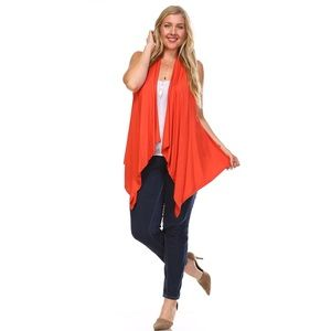 Sweaters - Bright Orange Sleeveless Cardigan Vest