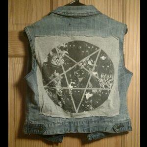 Hand sewn blasphemy cat punk goth denim vest