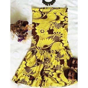 Boho Sunflower Print Strapless Tube Sun Dress