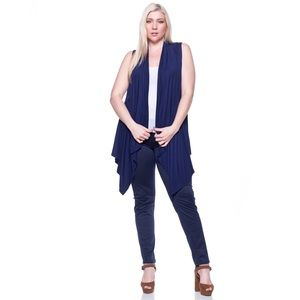 Sweaters - Navy Sleeveless Cardigan Duster Vest
