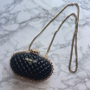 Nicole Lee Handbags - [LIKE NEW]: Black Clutch with Gold Rose Latch