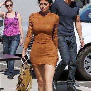 Fashion Nova Dresses & Skirts - Faux Suede Camel Dress Size M