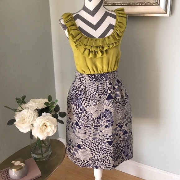 anthropologie dresses chartreuse and purple dress poshmark