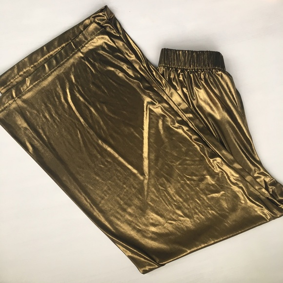 American Apparel Pants - Gold Glitz n' Glam High-Waisted Palazzos
